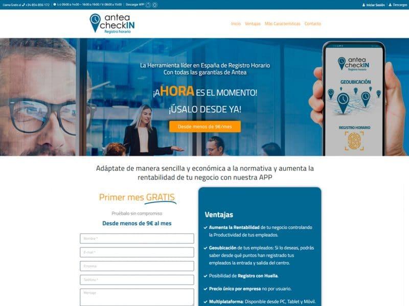 diseño landing page antea checkin
